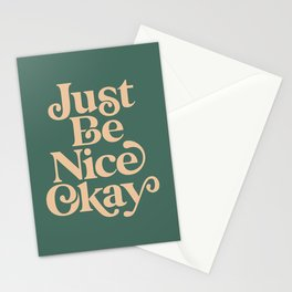 Just Be Nice Okay green and gold Stationery Cards
