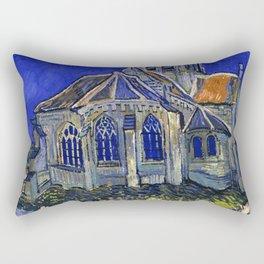 "Vincent Van Gogh ""The Church In Auvers Sur Oise"" Rectangular Pillow"