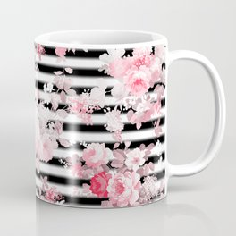 Vintage blush pink floral black white stripes Coffee Mug