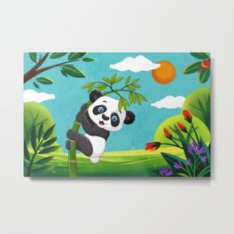 Cute baby panda enjoying the beauty of spring season Metal Print