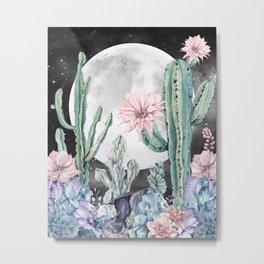 Desert Cactus Full Moon Succulent Garden Night Sky Metal Print