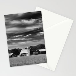 Red Barn in Golden Field Black and White Rural Landscape Photo Stationery Cards
