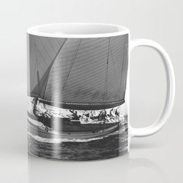 12-meter Sailing Yacht America's Cup Races nautical black and white photograph Coffee Mug