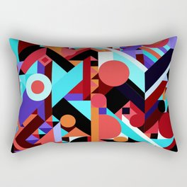 CRAZY CHAOS ABSTRACT GEOMETRIC SHAPES PATTERN (ORANGE RED WHITE BLACK BLUES) Rectangular Pillow