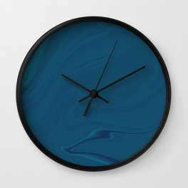 Blue Midnight Swirl Marble Wall Clock
