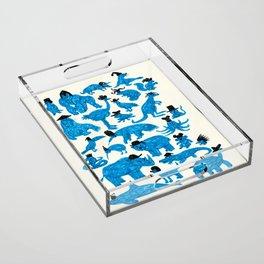 Blue Animals Black Hats Acrylic Tray