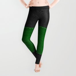 Image of green and black stitched leather Leggings