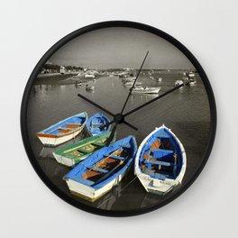 fishing boats, Santa Luzia, Portugal Wall Clock