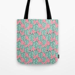 Watercolor tropical leaves pattern Tote Bag