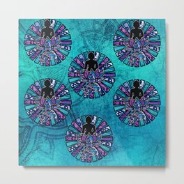 Buddha Silhouette Lotus flower with Ohm Om symbol with sun rays Metal Print