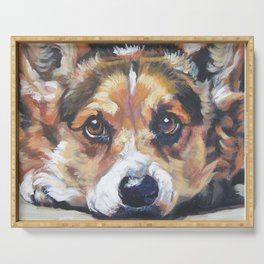 Pembroke Welsh Corgi dog art portrait from an original painting by L.A.Shepard Serving Tray