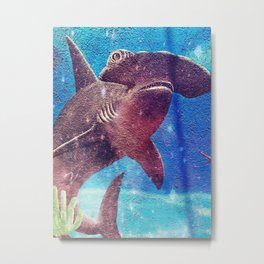 Hammerhead Shark In The Deep Blue Ocean Painting Metal Print