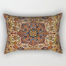 Persia Tabriz 19th Century Authentic Colorful Blue Red Yellow Vintage Patterns Rectangular Pillow