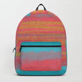 Modern Minimal Abstract Painting in Turquoise and Pink Coral Colors with Gold Texture Backpack