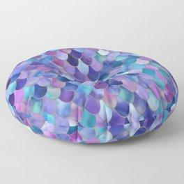 Mermaid Art, Purple, Pink, Teal, Blue, Green Floor Pillow