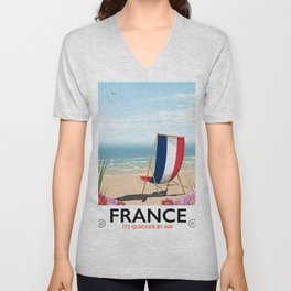 France seaside poster Unisex V-Neck