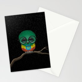 Baby Owl with Glasses and Ethiopian Flag Stationery Cards