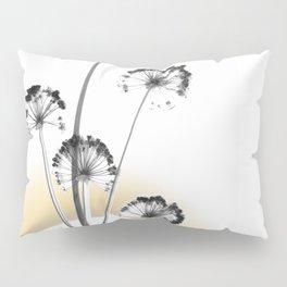 black and white flower wallpaper and the sun, flower decor, printable art Pillow Sham