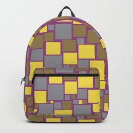 Gray Yellow Brown Purple Funky Mosaic Pattern V12 Pantone 2021 Colors of the Year & Accent Shades Backpack