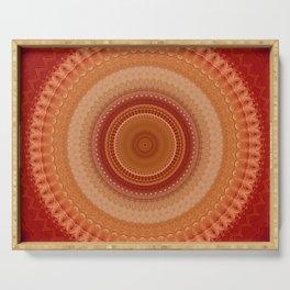 Vintage Orange Mandala Serving Tray