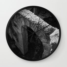 A gate at the Colosseum | Rome | B&W Travel Photography | Photo Art Print Wall Clock