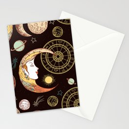 Moon face sun and crescent seamless pattern Stationery Cards