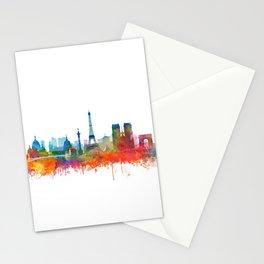 Paris City Skyline Watercolor by Zouzounio Art Stationery Cards
