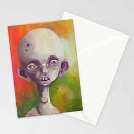 Calvin - Sad weird surreal guy with insomnia on green orange yellow background Stationery Cards