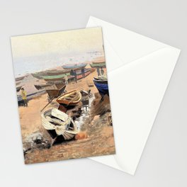 Nils Hansteen - Boats on the Beach at Hirtshals - Digital Remastered Edition Stationery Cards