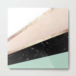 Mint, Blush, White, Black Marble and Gold Stripes Glam #1 #minimal #decor #art #society6 Metal Print