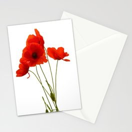 Delicate Red Poppies Vector Style Stationery Cards