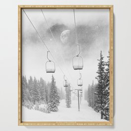 Ski Lift Moon Break // Riding the Mountain at Copper Colorado Luna Sky Peeking Foggy Clouds Serving Tray