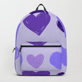 Purple Woodblock-Style Hearts Pattern Backpack