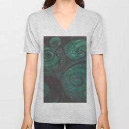 Swirl (black and green) Unisex V-Neck