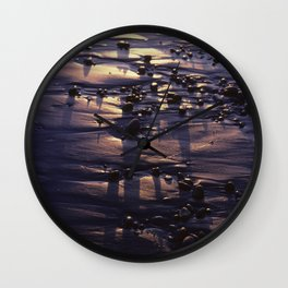 Beach Pebbles on the Sand at Sunset Wall Clock