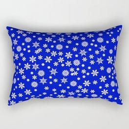 Snowflakes on Dark Blue Rectangular Pillow