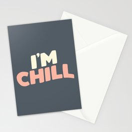 I'M CHILL peach pink and blue Stationery Cards