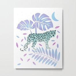 Leopard White & Mint Metal Print