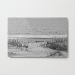 Beach in Black and White Metal Print