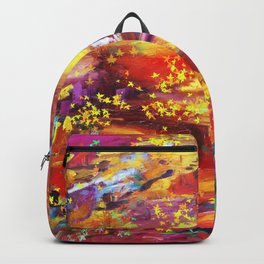 Forest2 Spring Summer Colorful Abstract Landscape Yellow Magenta Backpack
