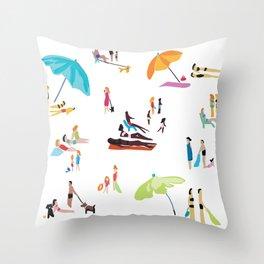 Beach Crowd Throw Pillow
