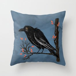 Raven On A Cold And Rainy Day Throw Pillow