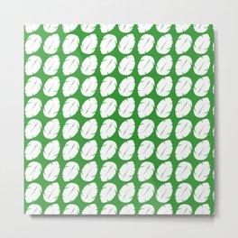 Ohana green background hawaiian leaves Metal Print