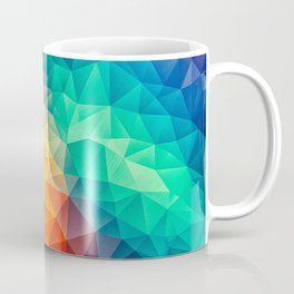 Abstract Polygon Multi Color Cubism Low Poly Triangle Design Coffee Mug