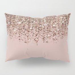 Blush Pink Rose Gold Bronze Cascading Glitter Kissenbezug