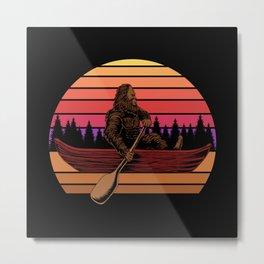 Bigfoot canoe sunset retro illustration sasquatch Metal Print