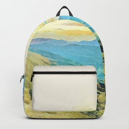 Inked Blue Valley By Greenness Backpack
