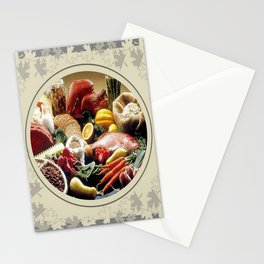 Thanksgiving Dinner and Autumn Decoration. Stationery Cards