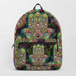 Hamsa Hand Amulet Psychedelic Backpack