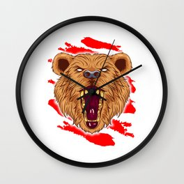 Angry Roaring Bear Design for Wild Animal and Bear Lover Wall Clock